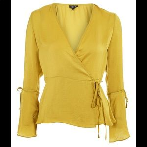 Topshop hammered satin wrap top in yellow